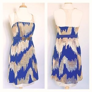 TRACY REESE // blue & beige belted racerback dress